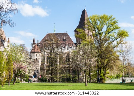 Vajdahunyad Castle in Budapest in beautiful park. Picture of serene beauty of historical place in the Hungarian capital.
