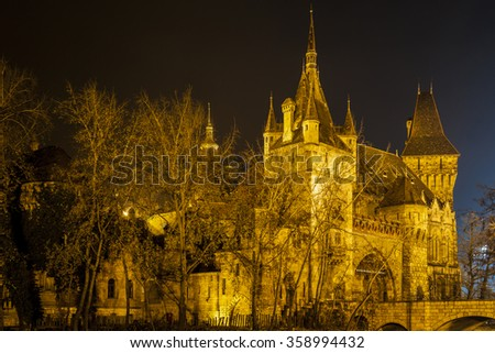 Vajdahunyad Castle in the City Park of Budapest by the night lights- Budapest city famous historical castle and nearby lake.    - stock photo