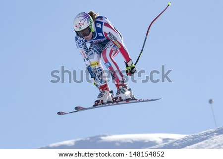 VAL D'ISERE FRANCE. 18-12-2010. Laurenne Ross (USA) takes to the air during the women's downhill race at the FIS Alpine skiing World Cup Val D'Isere France.