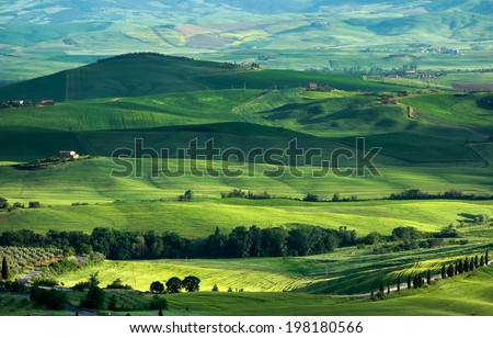 VAL D'ORCIA, TUSCANY/ITALY - MAY 16 : Farmland in Val d'Orcia Tuscany on May 16, 2013