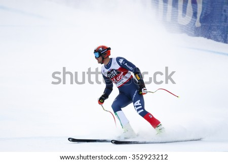 Val Gardena, Italy 18 December 2015. BUZZI Emanuele (Ita) competing in the Audi FIS Alpine Skiing World Cup Super-G race on the Saslong course in the Dolomite mountain range.