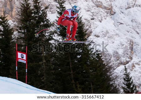Val Gardena, Italy 19 December 2014. Heel Werner (Ita) competing in the Audi Fis Alpine Skiing World Cup Men's Downhill Race on the Saslong Course in the dolomite mountain range.