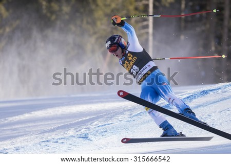 Val Gardena, Italy 20 December 2014. JITLOFF Tim (Usa) competing in the Audi FIS Alpine Skiing World Cup Super-G race on the Saslong course in the Dolomite mountain range.