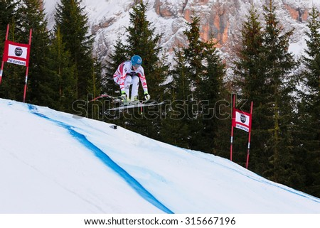 Val Gardena, Italy 19 December 2014. Mayer Matthias (Aut) competing in the Audi Fis Alpine Skiing World Cup Men's Downhill Race on the Saslong Course in the dolomite mountain range.