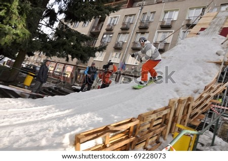 VALASKA, SLOVAKIA - JANUARY 15: Igor Jascenko of Slovak republic participates in the Big air  January 15, 2011 in Valaska, Slovakia. - stock photo
