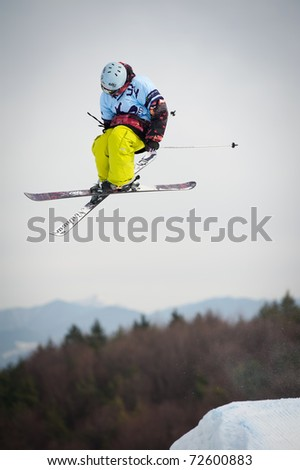 VALCA, SLOVAKIA - FEBRUARY 13: jump of  Viliam Tomo in final round of Nokia Freestyle Tour 2011 on February 13, 2011 in Valca, Slovakia - stock photo