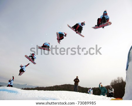 VALCA, SLOVAKIA - FEBRUARY 13: jump sequence of Filip Hrkel (SVK) at Nokia Freestyle Tour 2011 February 13, 2011 in Valca, Slovakia - stock photo
