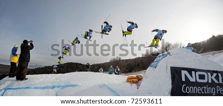 VALCA, SLOVAKIA - FEBRUARY 13: jump sequence of Viliam Tomo (SVK) at Nokia Freestyle Tour 2011 February 13, 2011 in Valca, Slovakia - stock photo
