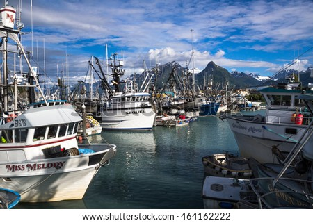 VALDEZ, ALASKA - JULY 23, 2016. Valdez Small Boat Harbor. Fishing Vessels with gear