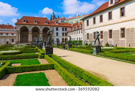 Valdstejnska Garden and Prague Castle in Prague, Czech Republic - stock photo