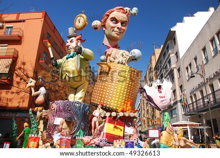 "VALENCIA - ALAQUAS, SPAIN - MARCH 17: Las Fallas (literally means ""the fires"" in Valencian) march 17, 2010 in Valencia, Spain. - stock photo"