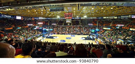 VALENCIA - JANUARY 28: Panoramic view of Fuente de San Luis, the stadium of Valencia Basket team before the match between Valencia Basket and Estudiantes, 85-71, January 28, 2012, in Valencia, Spain. - stock photo