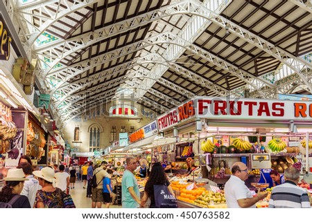 VALENCIA -JUNE 24: Central Market on June 24 2016 in Valencia, Spain. This great modernist building was designed in 1914 and is an excellent example of the modernist architecture of the time.