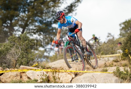 VALENCIA - MARCH 6: Fco Javier Poza rider participates in international Chelva MTB-XCO competition in Chelva on march 6, 2016 in Valencia, Spain - stock photo