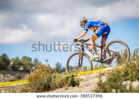 VALENCIA - MARCH 6: Jorge Martin rider participates in international Chelva MTB-XCO competition in Chelva on march 6, 2016 in Valencia, Spain - stock photo