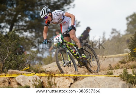 VALENCIA - MARCH 6: Zaragoza Anthony rider participates in international Chelva MTB-XCO competition in Chelva on march 6, 2016 in Valencia, Spain - stock photo