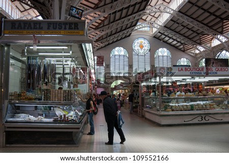 VALENCIA - MAY 22: Central market hall, Mercado Central interior on May 22, 2012 in Valencia, Spain. It is one of Europe largest markets