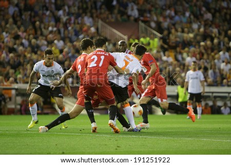 VALENCIA - MAY, 1: Jonas #7 try to get the ball during UEFA Europe League semifinals match between Valencia CF and Sevilla FC at the Mestalla Stadium on May 1, 2014 in Valencia, Spain