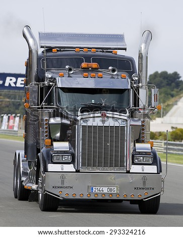 VALENCIA, SPAIN - APRIL 25: A black Kenworth T904 Truck take part in American Fest weekend organizated in circuit Ricardo Tormo, on April 25, 2015, in Cheste, Valencia, Spain. - stock photo