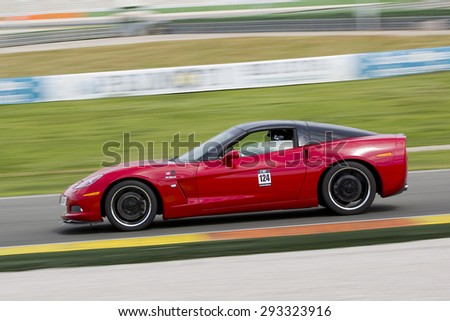 VALENCIA, SPAIN - APRIL 25: A red Chevrolet Corvette C6 take part in American Fest weekend organizated in circuit Ricardo Tormo, on April 25, 2015, in Cheste, Valencia, Spain.