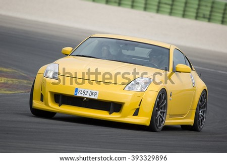 VALENCIA, SPAIN - APRIL 25: A yellow Nissan GTR take part in American Fest weekend organized in circuit Ricardo Tormo, on April 25, 2015, in Cheste, Valencia, Spain.
