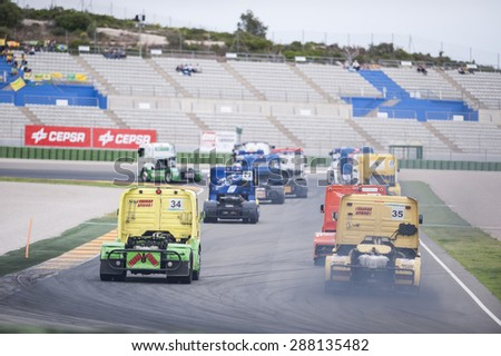 VALENCIA, SPAIN - April 25: during 2015 FIA European Truck Racing Championship at Ricardo Tormo Circuit on April 25, 2015 in Valencia, Spain