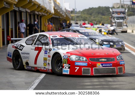 VALENCIA, SPAIN - APRIL 25: Romain Iannetta compete at Race 1 Elite 1 of Whelen Nascar Euro Series in Ricardo Tormo circuit, on April 25, 2015 in Cheste, Valencia, Spain. The winner was Eddie Cheever. - stock photo