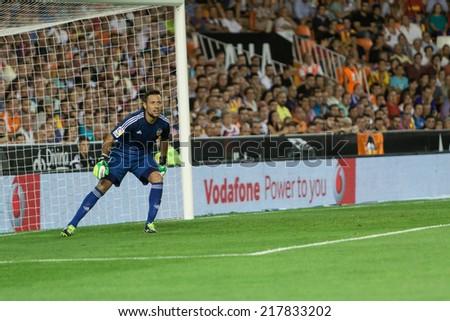 VALENCIA, SPAIN - AUGUST 29: Diego Alves at the Spanish League game between Valencia CF and Malaga CF at Estadi de Mestalla (Mestalla Stadium) on August 29, 2014 in Valencia, Spain - stock photo