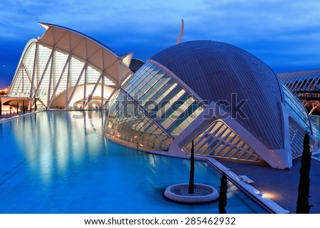 VALENCIA, SPAIN - AUGUST 26, 2013: Evening view over the L'Hemisferic, planetarium and laserium in the City of Arts and Science, Valencia Spain  - stock photo