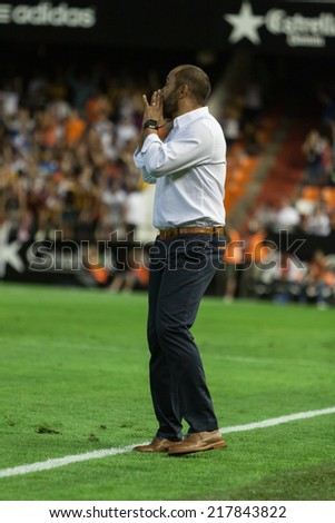 VALENCIA, SPAIN - AUGUST 29: Valencia manager Nuno Espirito Santo at the Spanish League game between Valencia CF and Malaga CF at Mestalla Stadium on August 29, 2014 in Valencia, Spain - stock photo