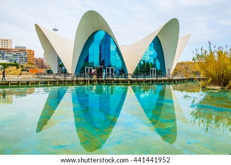 VALENCIA, SPAIN, DECEMBER 31, 2015: L'Oceanographic Center. The Aquarium at the City of the Arts and Sciences in valencia attracts hundreds of visitors for a dolphin show and other attractions. - stock photo