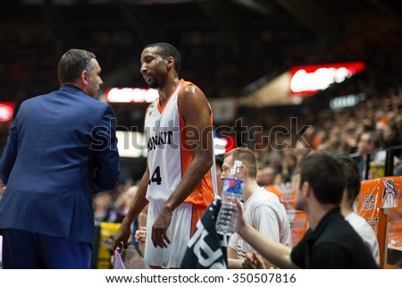 VALENCIA, SPAIN - DECEMBER 12th: Cuspinera talks with Scott during Spanish League between Valencia Basket Club and Montakit Fuenlabrada at Fonteta Stadium on December 12, 2015 in Valencia, Spain - stock photo