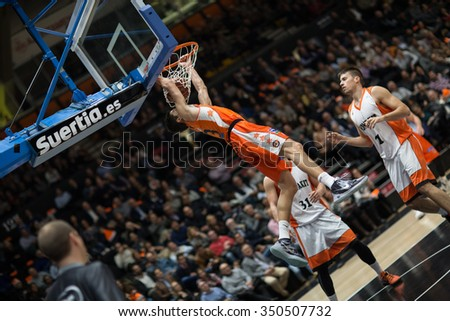 VALENCIA, SPAIN - DECEMBER 12th: Lucic during Spanish League between Valencia Basket Club and Montakit Fuenlabrada at Fonteta Stadium on December 12, 2015 in Valencia, Spain - stock photo