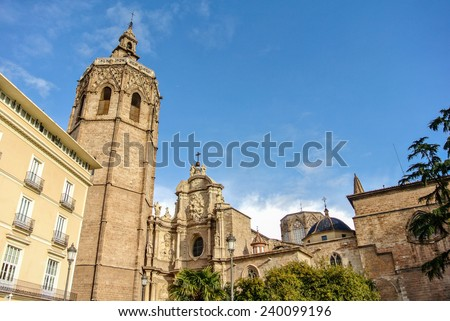 VALENCIA, SPAIN - DECEMBER 14: View of the Miguelete and the Cathedral. Valencia is the third largest city in Spain with 800,000 inhabitants. December 14, 2014 in Valencia, Spain  - stock photo