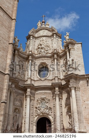 Valencia, Spain - facade of the Cathedral Church - stock photo