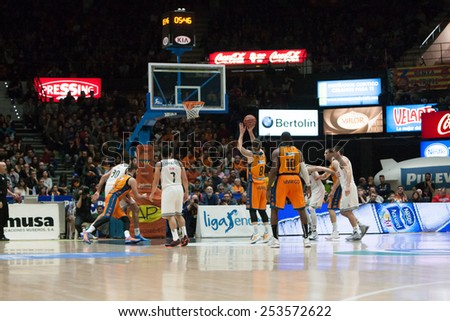 VALENCIA, SPAIN - FEBRUARY 15: All players during Spanish League match between Valencia Basket Club and Real Madrid at Fonteta Stadium on February 15, 2015 in Valencia, Spain - stock photo