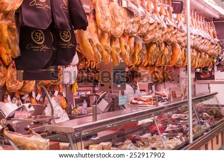 VALENCIA, SPAIN - FEBRUARY 07, 2015: Central Market -Mercado Central- in Valencia with unidentified people. It is a public market generally considered one of the oldest European markets still running