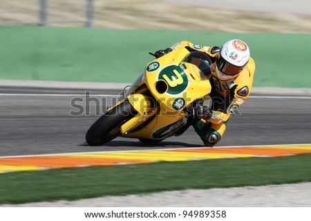 VALENCIA, SPAIN - FEBRUARY 8: Italian rider Simone Corsi participates in a pre-season test at Cheste circuit in Valencia, Spain on February 8, 2012.