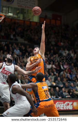 VALENCIA, SPAIN - FEBRUARY 15: Loncar with ball during Spanish League match between Valencia Basket Club and Real Madrid at Fonteta Stadium on February 15, 2015 in Valencia, Spain - stock photo