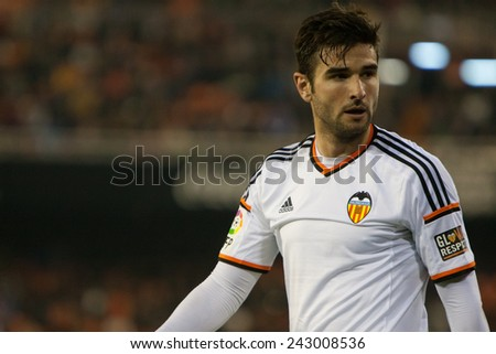 VALENCIA, SPAIN - JANUARY 4: Barragan during Spanish King Cup match between Valencia CF and R.C.D. Espanyol at Mestalla Stadium on January 4, 2015 in Valencia, Spain - stock photo