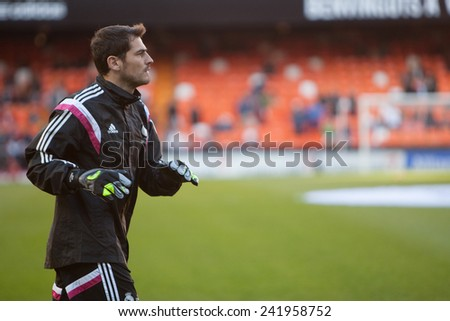 VALENCIA, SPAIN - JANUARY 4: Casillas during Spanish League match between Valencia CF and Real Madrid at Mestalla Stadium on January 4, 2015 in Valencia, Spain - stock photo