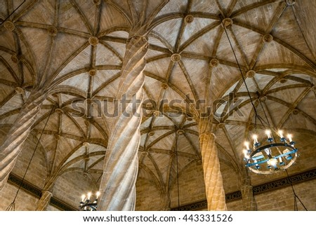 VALENCIA, SPAIN, JANUARY 1, 2016: Ceiling view of the Old Silk Exchange (Lonja de la Seda), Valencia, Spain. UNESCO World Heritage Site.