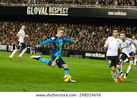 VALENCIA, SPAIN - JANUARY 25: Deulofeu in action during Spanish League match between Valencia CF and Sevilla FC at Mestalla Stadium on January 25, 2015 in Valencia, Spain - stock photo