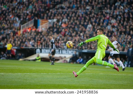 VALENCIA, SPAIN - JANUARY 4: Diego Alves during Spanish League match between Valencia CF and Real Madrid at Mestalla Stadium on January 4, 2015 in Valencia, Spain - stock photo