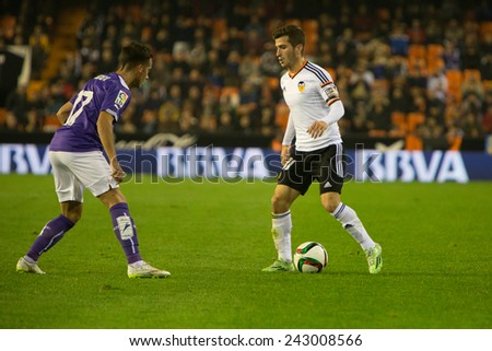 VALENCIA, SPAIN - JANUARY 4: Gaya with ball during Spanish King Cup match between Valencia CF and RCD Espanyol at Mestalla Stadium on January 4, 2015 in Valencia, Spain - stock photo