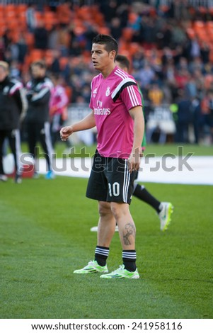 VALENCIA, SPAIN - JANUARY 4: James during Spanish League match between Valencia CF and Real Madrid at Mestalla Stadium on January 4, 2015 in Valencia, Spain - stock photo