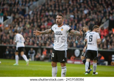 VALENCIA, SPAIN - JANUARY 4: Mustafi during Spanish League match between Valencia CF and Real Madrid at Mestalla Stadium on January 4, 2015 in Valencia, Spain - stock photo