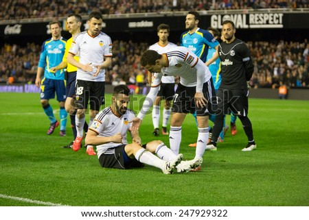 VALENCIA, SPAIN - JANUARY 25: Negredo earned a penalty during Spanish League match between Valencia CF and Sevilla FC at Mestalla Stadium on January 25, 2015 in Valencia, Spain - stock photo