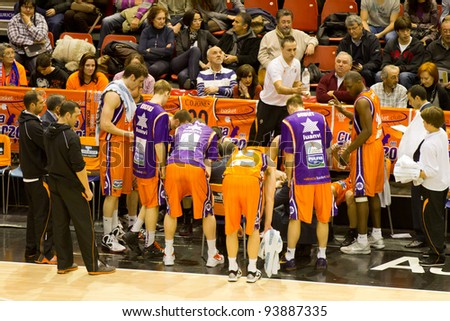 VALENCIA, SPAIN - JANUARY 28: Team Valencia Basket preparing the strategy during the ACB league match between Valencia Basket  and Asefa Estudiantes, 85-71, on January 28, 2012, in Valencia, Spain - stock photo