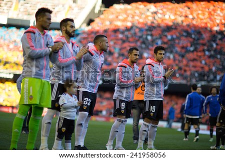 VALENCIA, SPAIN - JANUARY 4: Valencia players during Spanish League match between Valencia CF and Real Madrid at Mestalla Stadium on January 4, 2015 in Valencia, Spain - stock photo